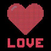 Love Heart On A Digital Grid Display