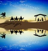 picture of magi  - Magi Kings following the star of Bethlehem - JPG