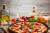 stock photo of junk  - Still life of fresh homemade pizza - JPG