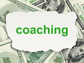 Education concept: Coaching on Money background