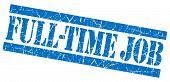 Full-time Job Grunge Blue Stamp