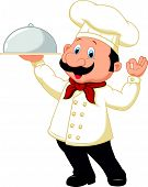 Chef cartoon holding platter