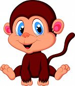 stock photo of chimp  - Vector illustration of Cute baby monkey cartoon - JPG