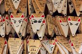 Fox Shaped Praying Cards At Fushimi Inari Shrine In Kyoto