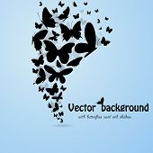 picture of flying-insect  - Blue backgroound with butterflies silhouettes - JPG