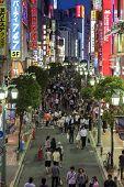 Brightly Lit Street In East Shinjuku, Tokyo, Japan.