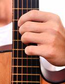 Hand And Guitar Closeup
