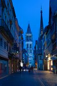 Small Night Street Near Rouen Cathedral