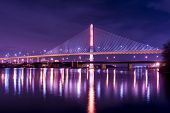 stock photo of skyway bridge  - Night view of the Veterans - JPG