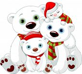 Illustration of Big Polar bear family at Christmas