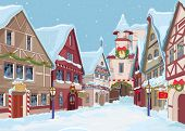 stock photo of row houses  - Christmas town street at winter day - JPG