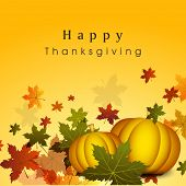 Happy Thanksgiving Day celebration flyer, banner or poster with pumpkins and autumn leaves on yellow