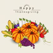 Happy Thanksgiving Day celebration flyer, banner or poster with fruits and vegetables on abstract background.