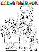 Coloring book chimney sweeper - eps10 vector illustration.