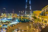 View On Burj Khalifa And Dubai Mall, Dubai, Uae, At Night