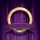 vector golden ring with diamonds on purple velvet