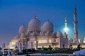 Sheikh Zayed Mosque At Night. Abu Dhabi, United Arab Emirates