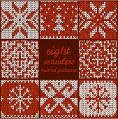 Set of Eight Seamless Knitted Patterns