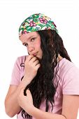 Shy Ten Year Old Girl Wearing A Bandana poster