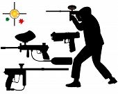 stock photo of paintball  - paintball gun target on a white background - JPG
