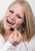 Laughing Young Female Telephone Operator