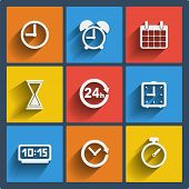 Set of 9 vector time web and mobile icons