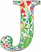 image of initials  - Colorful floral initial capital letter J  - JPG