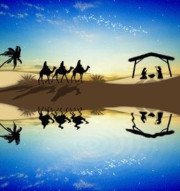 picture of magi  - Magi Kings following the star of Bethlehem - JPG
