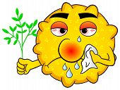 stock photo of hay fever  - vector illustration of a pollen with hay fever - JPG