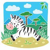 Children Vector Illustration Of Little Zebra