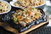 picture of mongolian  - Asian duck with vegetables Mongolian style close up - JPG