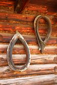 image of wooden horse  - Close up view of the wooden wall of a rural house - JPG
