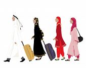 stock photo of salwar  - an illustration of arab people dressed in traditional clothing walking along with luggage on a white background - JPG