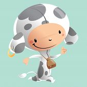 Cartoon Happy Smiling Kid Wearing Funny Carnival Cow Costume