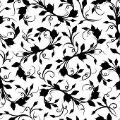 Seamless black floral pattern. Vector illustration.