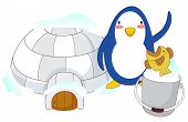 A vector illustration of igloo with penguin