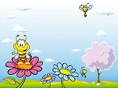 foto of bee cartoon  - bee cartoon sitting on flower on natural background with blue sky tree and flowers - JPG