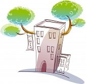 Vector illustration of a building with vegetation