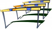 Vector illustration of three hurdles
