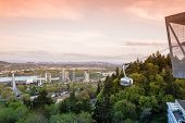 stock photo of tram  - aerial tram in portland oregon view of the city from the top - JPG