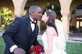 Man And Woman Interracial Wedding Couple Kiss