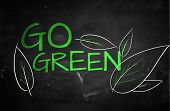 Go Green Text on blackboard