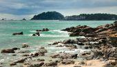 Rocky Coast along Coastal walk at Manganui Bay of Plenty New Zealand