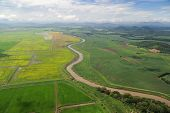Aerial View Of Farm Fields In Costa Rica
