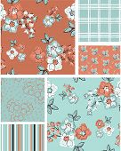 Floral vector seamless patterns. Use as fills to print onto fabric to create unique home furnishings