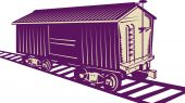 foto of boxcar  - illustration of a Boxcar of a cargo train - JPG