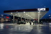 JACKSONVILLE, FL - MAY 2, 2014: A Gate Petroleum gas station on a rainy morning. Gate Petroleum is h