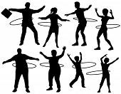 Set of illustrated silhouettes of people exercising with a hula hoop