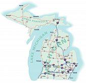 Estado de Michigan interestatal mapa