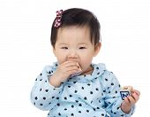 Little girl with teething